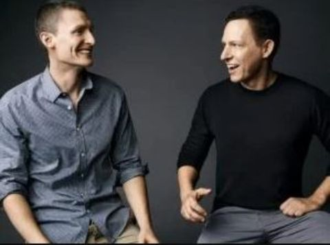 Matt Danzeisen and his husband Peter Thiel pose during a photoshoot.