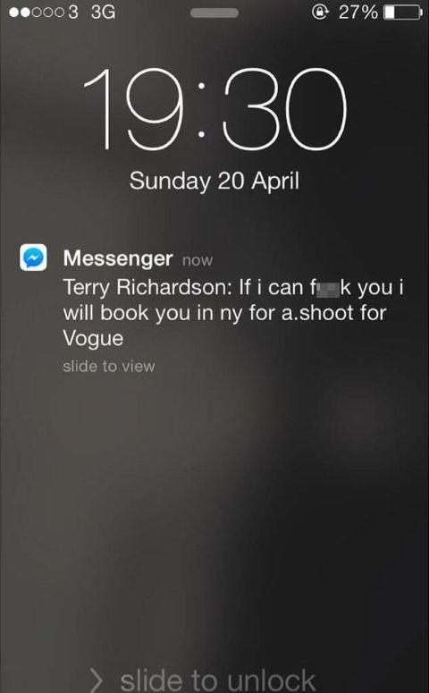 screenshot of Terry Richardson toward Emma Appleton