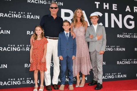 Liam Costner's dad Kevin Costner poses with his children.