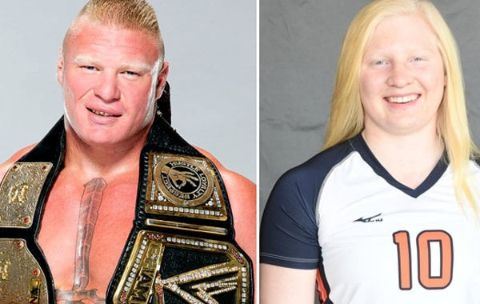 Mya Lynn Lesnar in right and Brock Lesnar in left with his WWE titles.