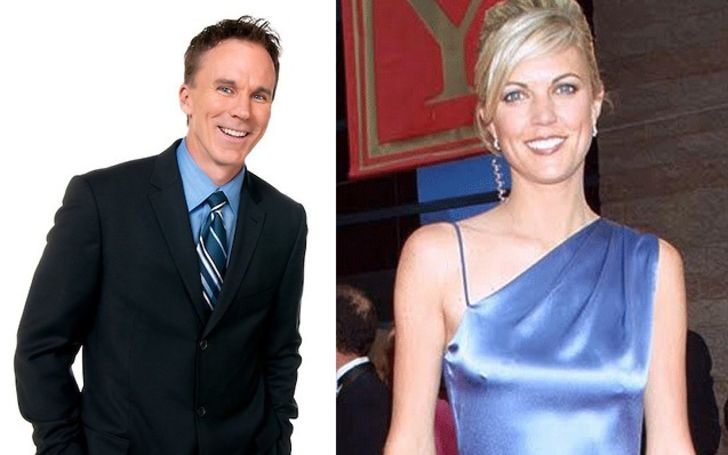 Melissa Buccigross in blue dress (right) and her ex-husband John Buccigross (left)
