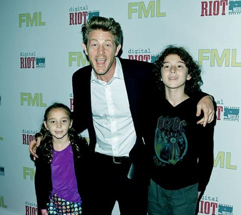 Marney Hochman's ex-husband Jason Nash poses a picture with their two children.