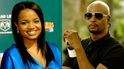 Kyla Wayans in a blue dress poses in left and father Damon Wayans in right.