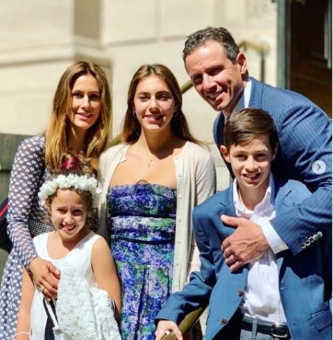 Chris Cuomo poses with his wife Cristina Greeven and children.