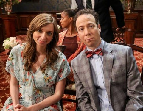 Lauren Lapkus poses with a co-actor from The Big Bang Theory.
