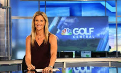 Kelly Tilghman in a black top hosting the Golf Central show.