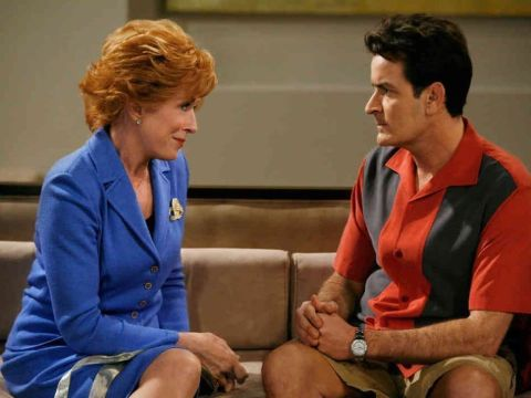 Holland Taylor and Charlie Sheen while shooting for Two and a Half Men.