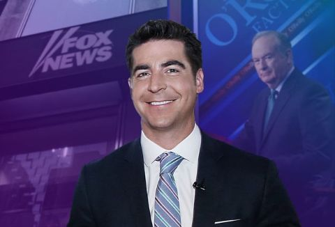 Jesse Watters in a black suit caught on camera while hosting a show.