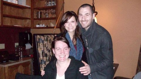 Michael Galeotti and wife Bethany Lenz pose with mother.