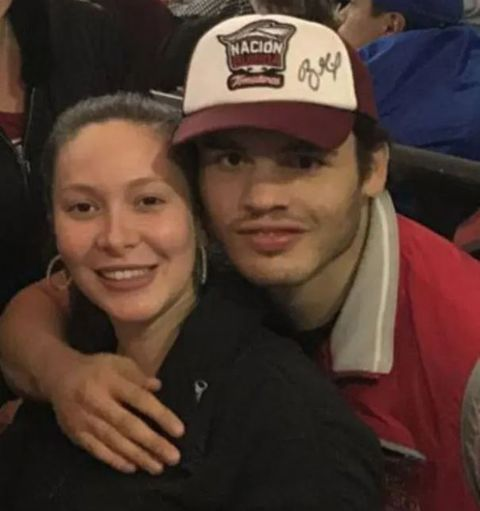 Frida Chávez in a black shirt poses a selfie with husband Julio Cesar Chavez Jr.
