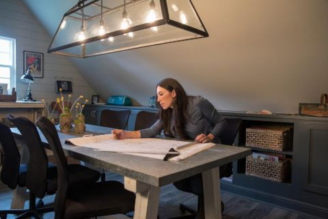 Joanna Gaines planning for a design in house.