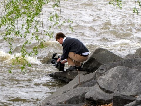 Kyle Midura caught on camera on the river banks.