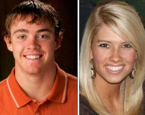 Rachel Glandorf McCoy in right and her husband Colt McCoy in left.