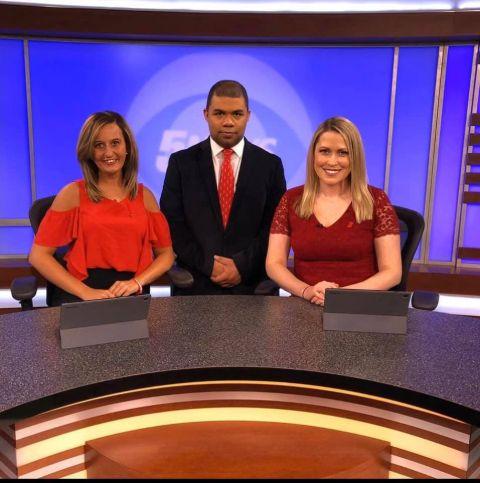 Jordan Darensbourg with her friends at work