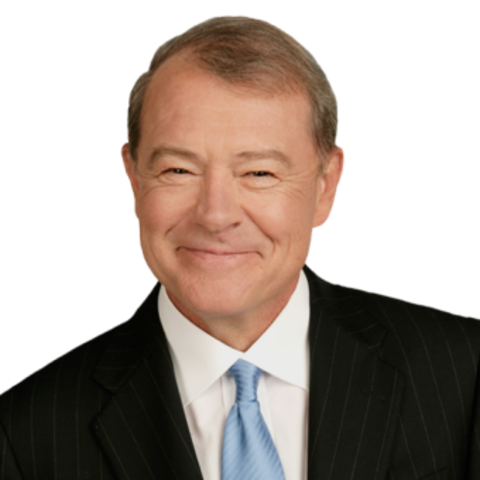 Stuart Varney in a black suit poses for a picture.