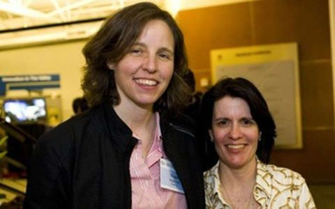 Megan Smith poses with her ex-partner Kara Swisher.