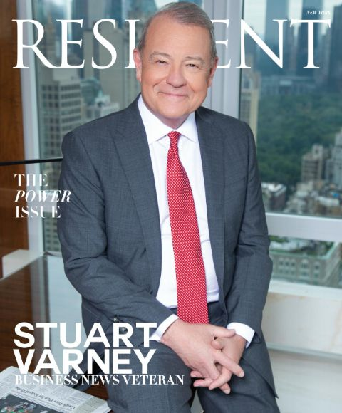 Stuart Varney poses at a magazine cover.