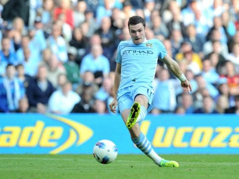 Adam Johnson caught on camera while passing a ball for Manchester City.