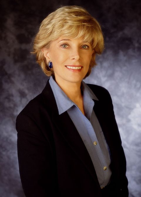 Lesley Stahl in a black coat poses for a picture.