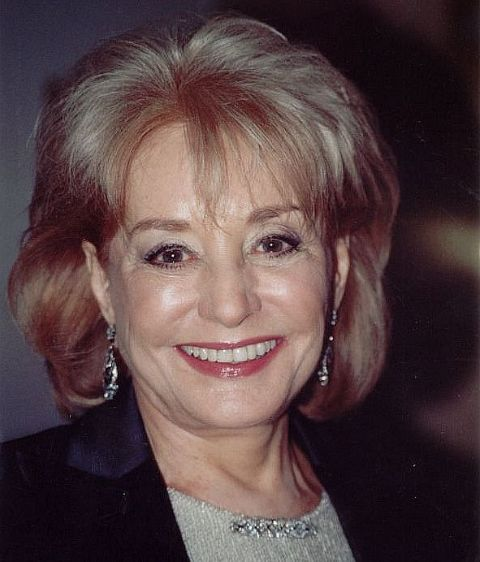 Barbara Walters in a black suit poses for a picture.