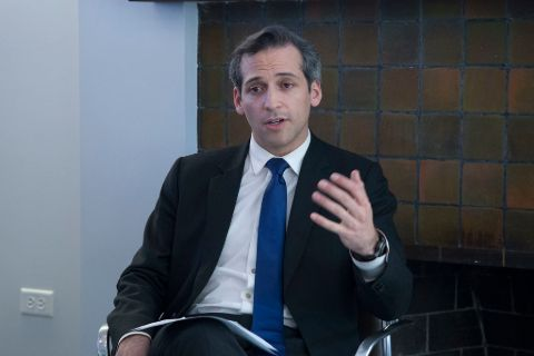 Nick Schifrin while talking in an interview.