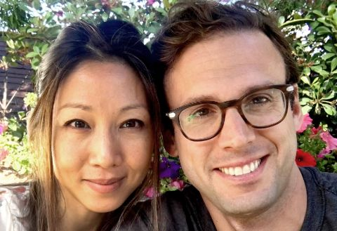 Stephanie Sy poses a picture with her husband David Jensen Ariosto.