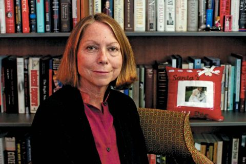 Jill Abramson in a black coat poses for a picture.
