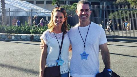 Natalie Morales poses with her husband Joseph Rhodes.