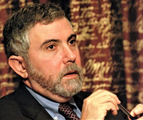 Paul Krugman caught on the camera during an interview.