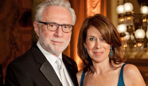 Wolf Blitzer  poses with his wife Lynn Greenfield.