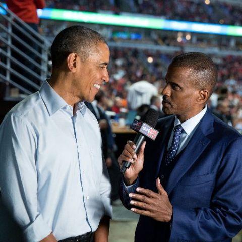 David Aldridge interviewing former President Barack Obama.
