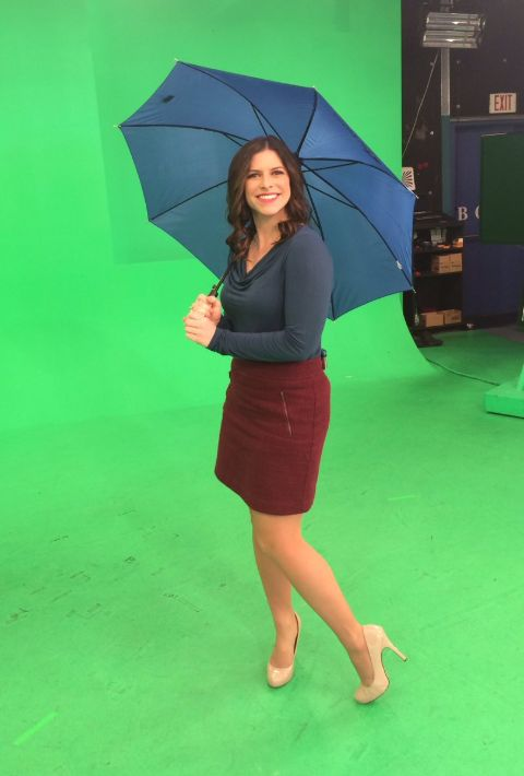 Kaitlyn Herbst poses a picture at the studio of Global News.