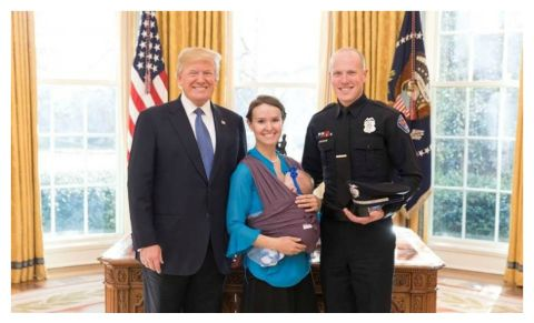 Donald Trump honoring Albuquerque police officer Ryan Holets and wife Rebecca Holets.
