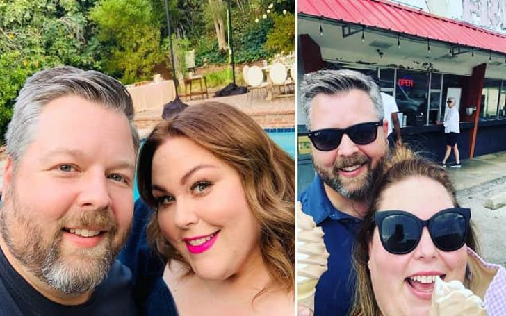 A collage of Chrissy Metz and her partner's photo.