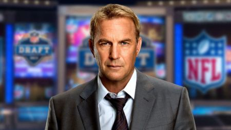 Kevin Costner caught on the camera in a black suit.