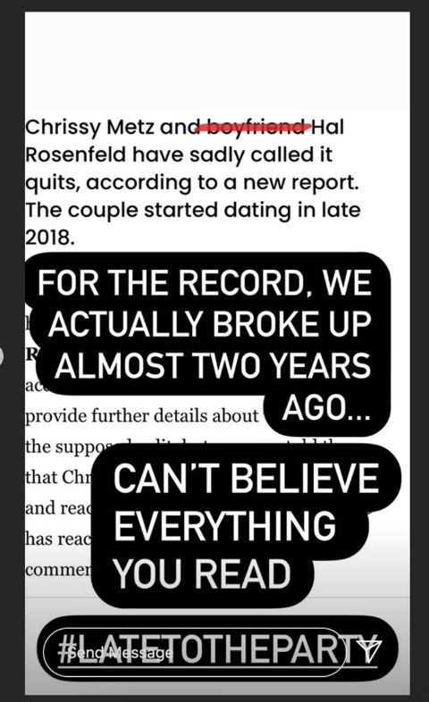 Chrissy Metz's post that talked about her former partner.