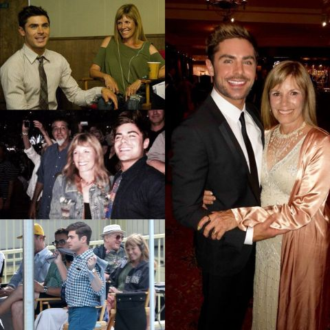 Starla Baskett and her son Zac Efron collage