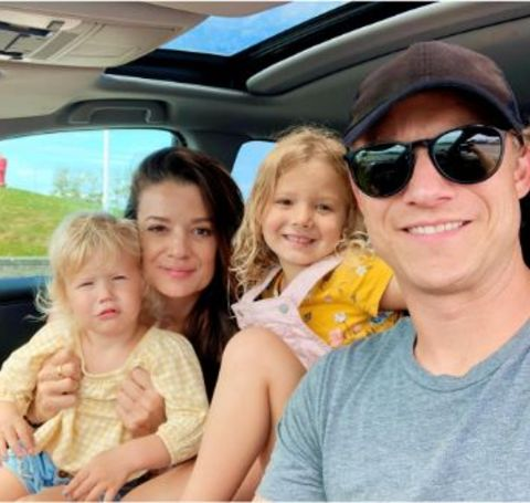 Scot Sustad with his wife, Canadian actress, Kimberly Sustad and their beautiful daughters.