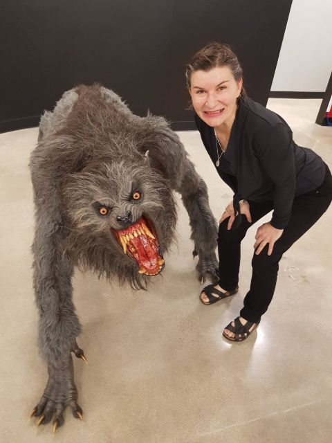Tammy Peterson with an animated wolf