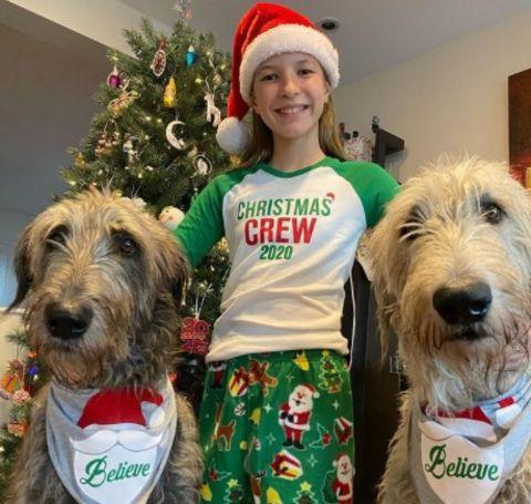Lynn Colliar's daughter Teagan with their pet dogs.