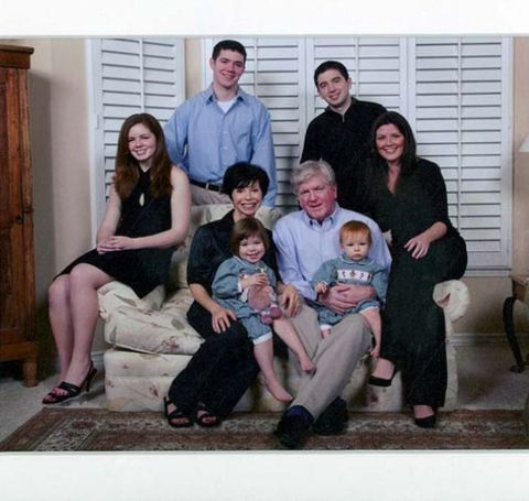 Brian Burke with his second wife Jennifer and his six children including two daughters from his first marriage.