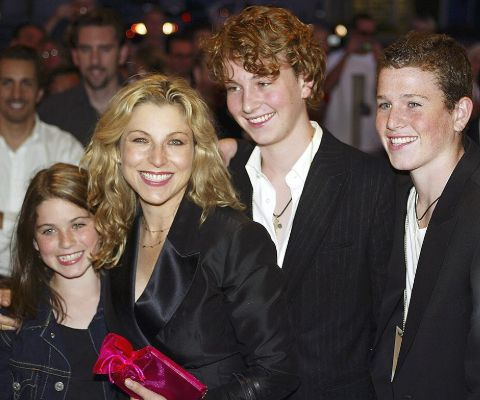 Emily McEnroe with her mother, Tatum O'Neal and elder brothers.