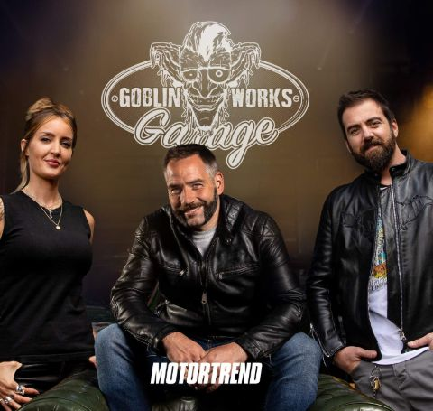 Helen Stanley with her show partner Jimmy DeVille (Engineer) and Anthony Partridge (Motorcycle designer/builder).