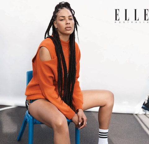 Liz Cambage posing for the brand Elle