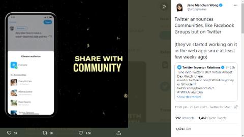 Twitter 'Communities' update