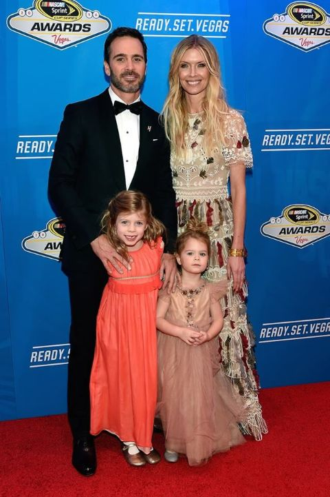 Jimmie Johnson and his wife and kids