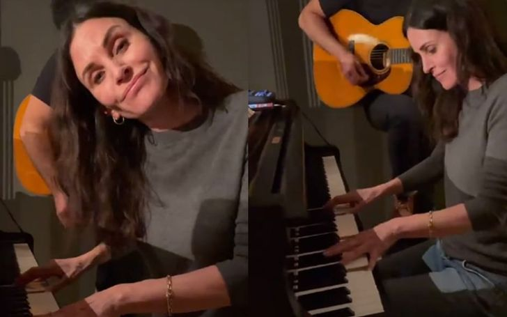 Courtney Cox playing Friends themes song on piano