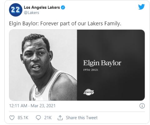 Elgin Baylor was a superstar of his time.