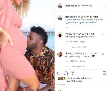 Jason Derulo announced his girlfriend is pregnant with first wife on March 29, 2021.