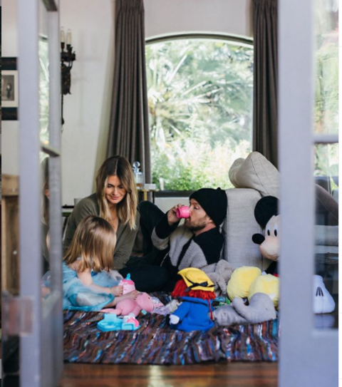 Aaron Paul spending quality time with his wife Laura and daughter Story.